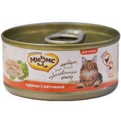 Мнямс консервы для кошек Курица с ветчиной в нежном желе , 70 гр.