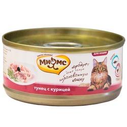 Мнямс консервы для кошек Тунец с курицей в нежном желе, 70 гр.