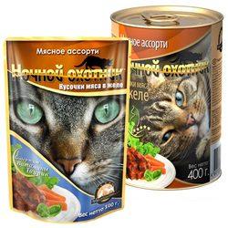 Ночной охотник Мясное ассорти Кусочки мяса в желе, консервированный корм для кошек