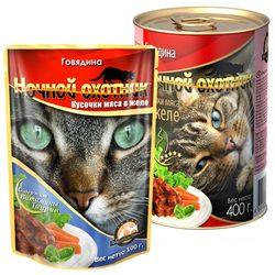 Ночной охотник Говядина Кусочки мяса в желе, консервированный корм для кошек