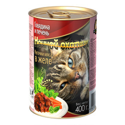 Ночной охотник Говядина и печень Кусочки мяса в желе, консервированный корм для кошек