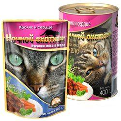 Ночной охотник Кролик и сердце Кусочки мяса в желе, консервированный корм для кошек