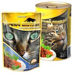 Ночной охотник Курица Кусочки мяса в желе, консервированный корм для кошек