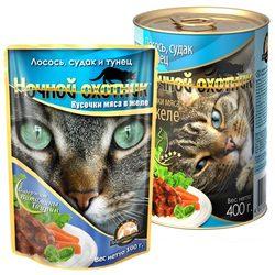 Ночной охотник Лосось, судак и тунец Кусочки мяса в желе, консервированный корм для кошек