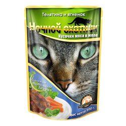 Ночной охотник Телятина и ягненок Кусочки мяса в желе, консервированный корм для кошек