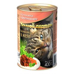 Ночной охотник Кусочки мяса в креветочном желе, консервированный корм для кошек