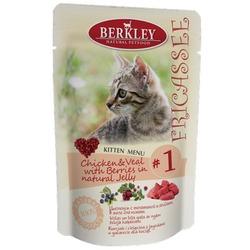 Berkley №1 фрикассе, Цыпленок с телятиной и ягодами в желе для котят, 100 гр х 12 шт