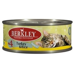 Berkley №4 индейка с рисом, консервы для кошек, 100 гр.