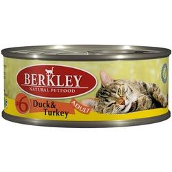 Berkley №6 утка с индейкой, консервы для кошек, 100 гр.