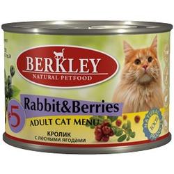Berkley №5 кролик с лесными ягодами, консервы для кошек, 200 гр.