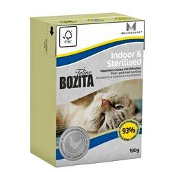 Bozita Indoor&Sterilised кусочки в желе с курицей для стерилизованных и домашних кошек, 190 гр.