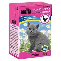 Bozita для котят кусочки в желе с курицей, 190 гр.