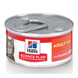 Hill`s консервы для взрослых кошек с лососем, Science Plan Feline Adult with Salmon 82 гр. х 12 шт.