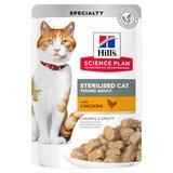 Hill`s для стерилизованных кошек до 6 лет, с курицей, мягкая упаковка, Science Plan Feline Sterilized Cat Young Adult, 85 гр. х 12 шт.