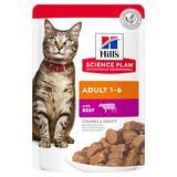 Hill`s Влажный корм для кошек в паучах с говядиной для взрослых кошек, 85 гр. х 12 шт.
