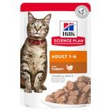 Hill`s Влажный корм для кошек в паучах с индейкой, Science Plan Feline Adult with Turkey, 85 гр. х 12 шт.