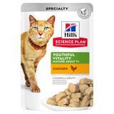 Hill`s Влажный корм для пожилых кошек в паучах с курицей, Science Plan Youthful Vitality 7+ Chicken, 85 гр. х 12 шт.