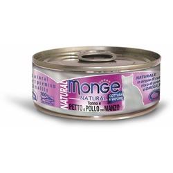 Monge Cat Natural консервы для кошек тунец с курицей и говядиной 80 гр.