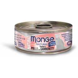 Monge Cat Natural консервы для кошек тунец с курицей и креветками 80 гр.