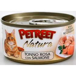 Petreet кусочки розового тунца с лососем, консервы для кошек, 70 гр.