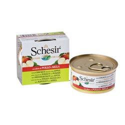 Schesir с куриным филе и яблоками, консервированный корм для кошек, 75 гр. х 14 шт.