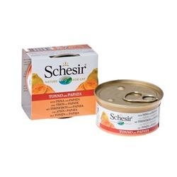 Schesir с тунцом и папайей, консервированный корм для кошек, 75 гр. х 14 шт.