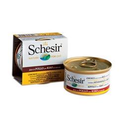 Schesir куриное филе с рисом, кусочки в собственном соку, консервированный корм для кошек, 85 гр. х 14 шт.