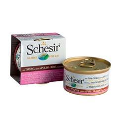 Schesir с тунцом, куриным филе и рисом, кусочки в собственном соку, консервированный корм для кошек