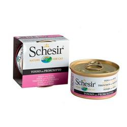 Schesir тунец с ветчиной, кусочки в желе, консервированный корм для кошек, 85 гр. х 14 шт.