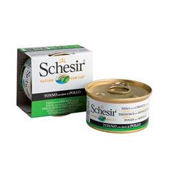 Schesir тунец с куриным филе, кусочки в желе, консервированный корм для кошек, 85 гр. х 14 шт.
