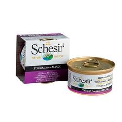 Schesir тунец с говяжьим филе, кусочки в желе, консервированный корм для кошек, 85 гр. х 14 шт.