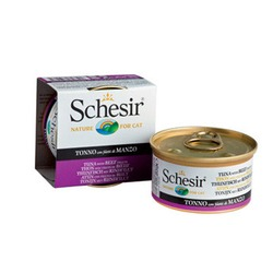 Schesir тунец с говяжьим филе, кусочки в желе, консервированный корм для кошек