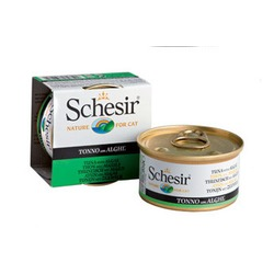 Schesir тунец с морскими водорослями, кусочки в желе, консервированный корм для кошек, 85 гр. х 14 шт.