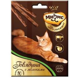Мнямсик Деликатес лакомые палочки 9 см для кошек с говядиной и яблоком 3х4 гр.