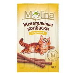 Molina Жевательные колбаски для кошек с курицей, 4 шт. (36 гр.)