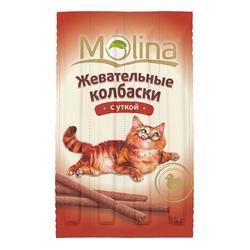 Molina Жевательные колбаски для кошек с уткой, 4 шт. (36 гр.)