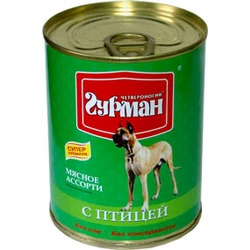 Четвероногий гурман консервы «Мясное ассорти» с птицей для собак