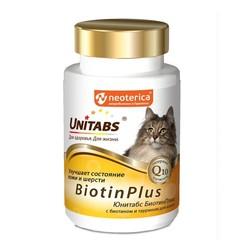 Unitabs Biotin Plus c Q10, витамины с биотином и таурином для кошек, 120 табл.