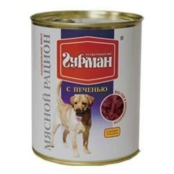 Четвероногий гурман консервы «Мясной рацион» с печенью для собак, 850 гр.