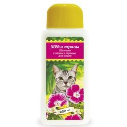 Pchelodar шампунь гигиенический для кошек с мёдом и геранью (250 мл), арт.63327
