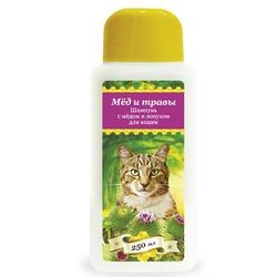 Pchelodar шампунь гигиенический для кошек с мёдом и лопухом (250 мл), арт.63328