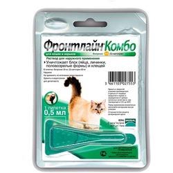 Frontline Combo Фронтлайн Комбо капли на холку от блох и клещей для кошек, 1 пипетка