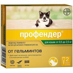 Bayer Профендер 35 для кошек 0,5-2,5 кг (2 пипетки х 0,4 мл)