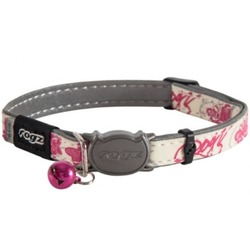 """Rogz Ошейник с застежкой для кошек GlowCat """"Розовые бабочки"""", ширина 1,1см, размер 20-31см"""