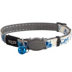 """Rogz Ошейник с застежкой для кошек GlowCat """"Синие цветы"""", ширина 1,1см, размер 20-31см"""