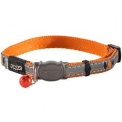 """Rogz Ошейник с застежкой для кошек NightCat """"Птички на проводах"""", оранжевый, ширина 1,1см, размер 20-31см"""
