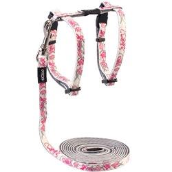 """Rogz Набор шлейка (24-40см) + поводок (длина 1,8м) для кошек GlowCat """"Розовые бабочки"""""""