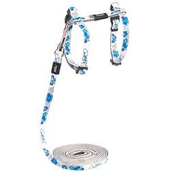 """Rogz Набор шлейка (24-40см) + поводок (длина 1,8м) для кошек GlowCat """"Синие цветы"""""""