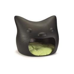 """I.P.T.S. Домик для кошек """"Кошачья голова"""" с лежаком, цвет черный"""