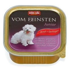 Animonda с говядиной и мясом домашней птицы Vom Feinsten Junior консервы для щенков и юниоров, 150 гр. х 22 шт.